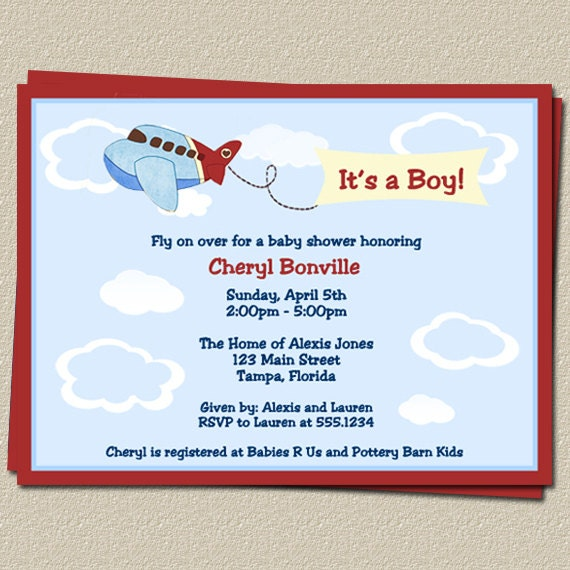 airplane baby shower invitations for plane or flight theme free