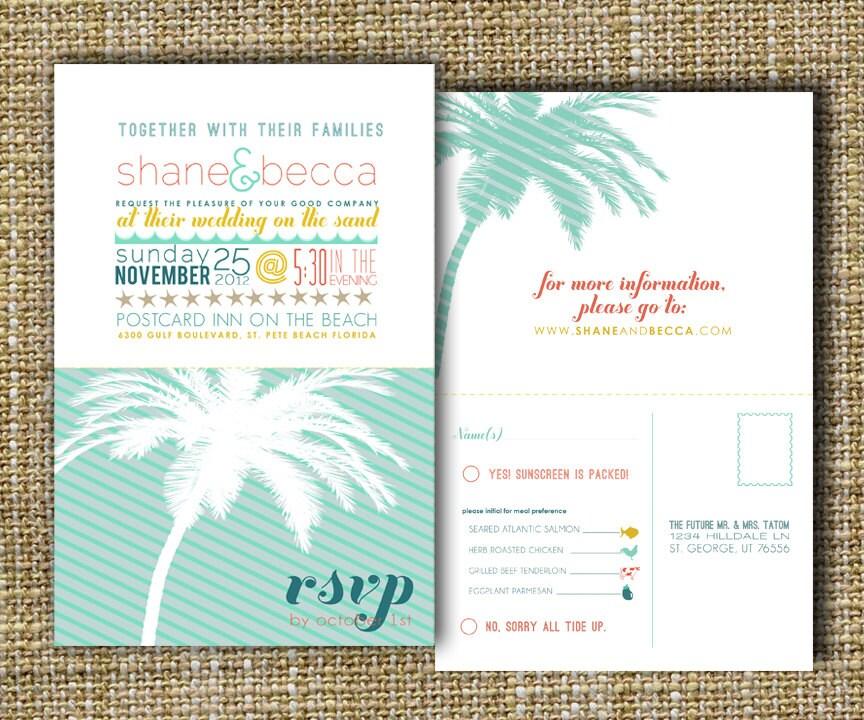 Beach Wedding Invitation Beach Destination Wedding By Westwillow