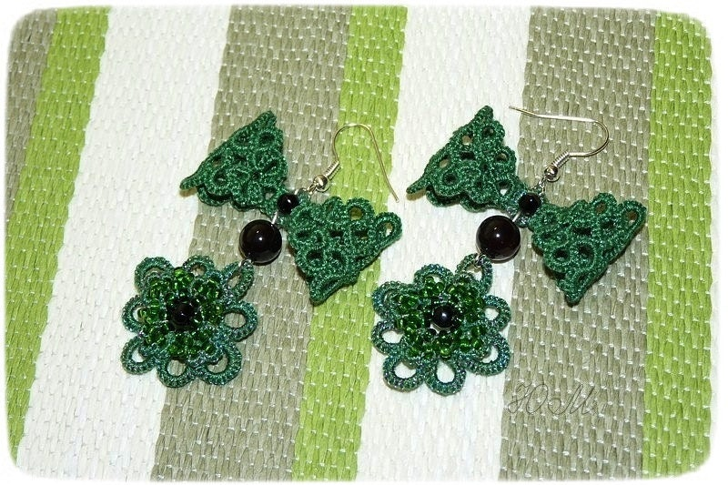 Apotheosis - tatted lace earrings with beading
