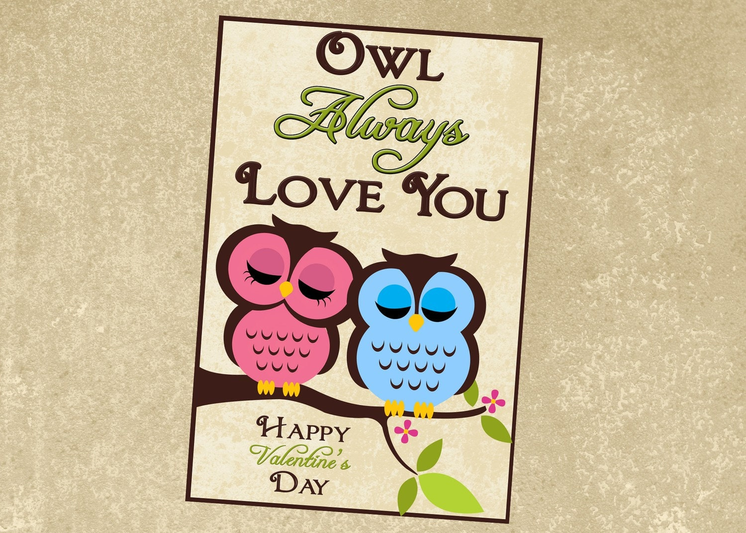 Printable Owl Valentine Digital File