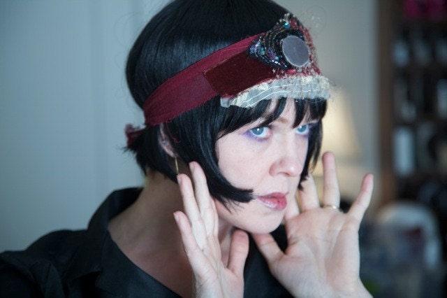velvet jeweled and beaded headband(elegance and decadence)