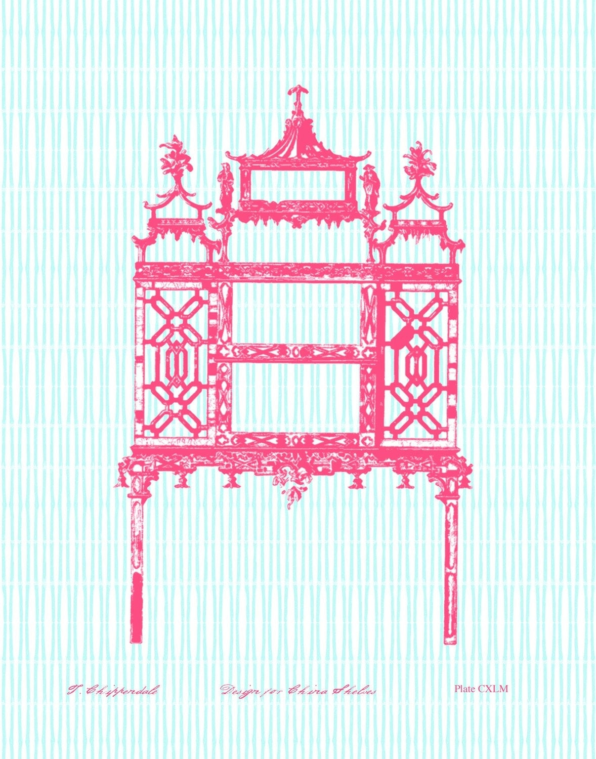 Coral Chinese Chippendale Porcelain Display on Turquoise 11x14 Giclee