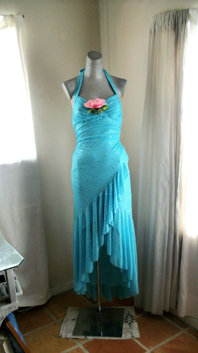 Flamingo Style Turquoise Blue Sparkly Sequin Dancing Dress with Pink Silk Rose and Ruffle Hem