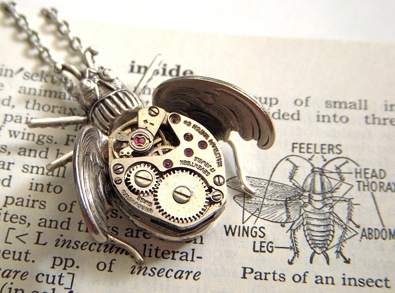 Steampunk Necklace Gothic Flying Insect