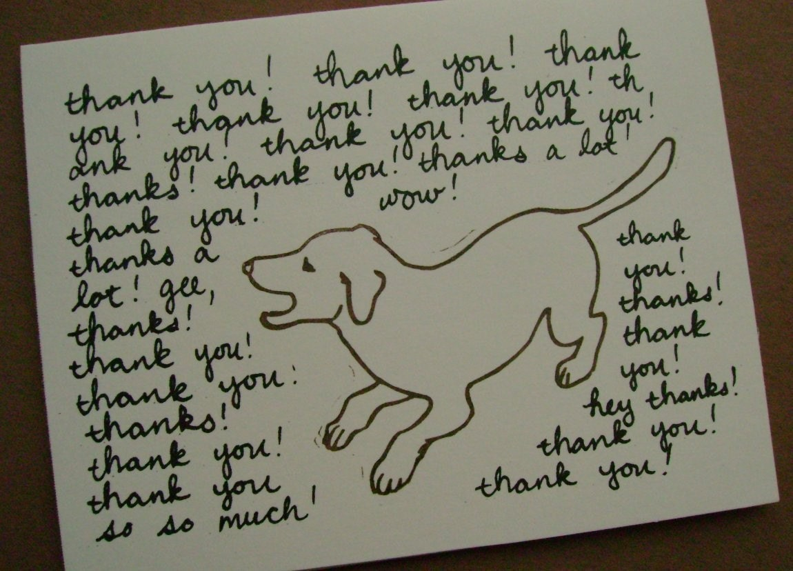 Thank You Cards 4 Set Excited Dog