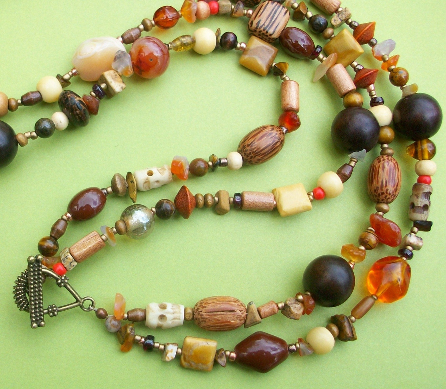 mixed media autumn colors two strand necklace