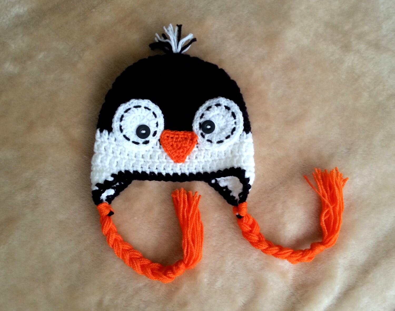 Crochet penguin hat newborn baby boy or girl black white orange winter hat  photo prop shower gift uk seller made to order