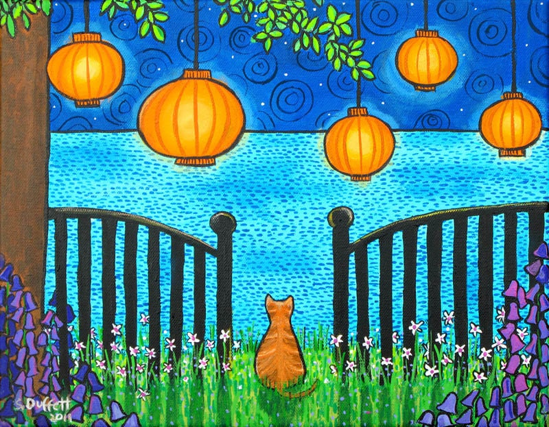 Summer Dreams, Orange Tabby ,Chinese Lanterns, Ocean, dreamy Giclee print