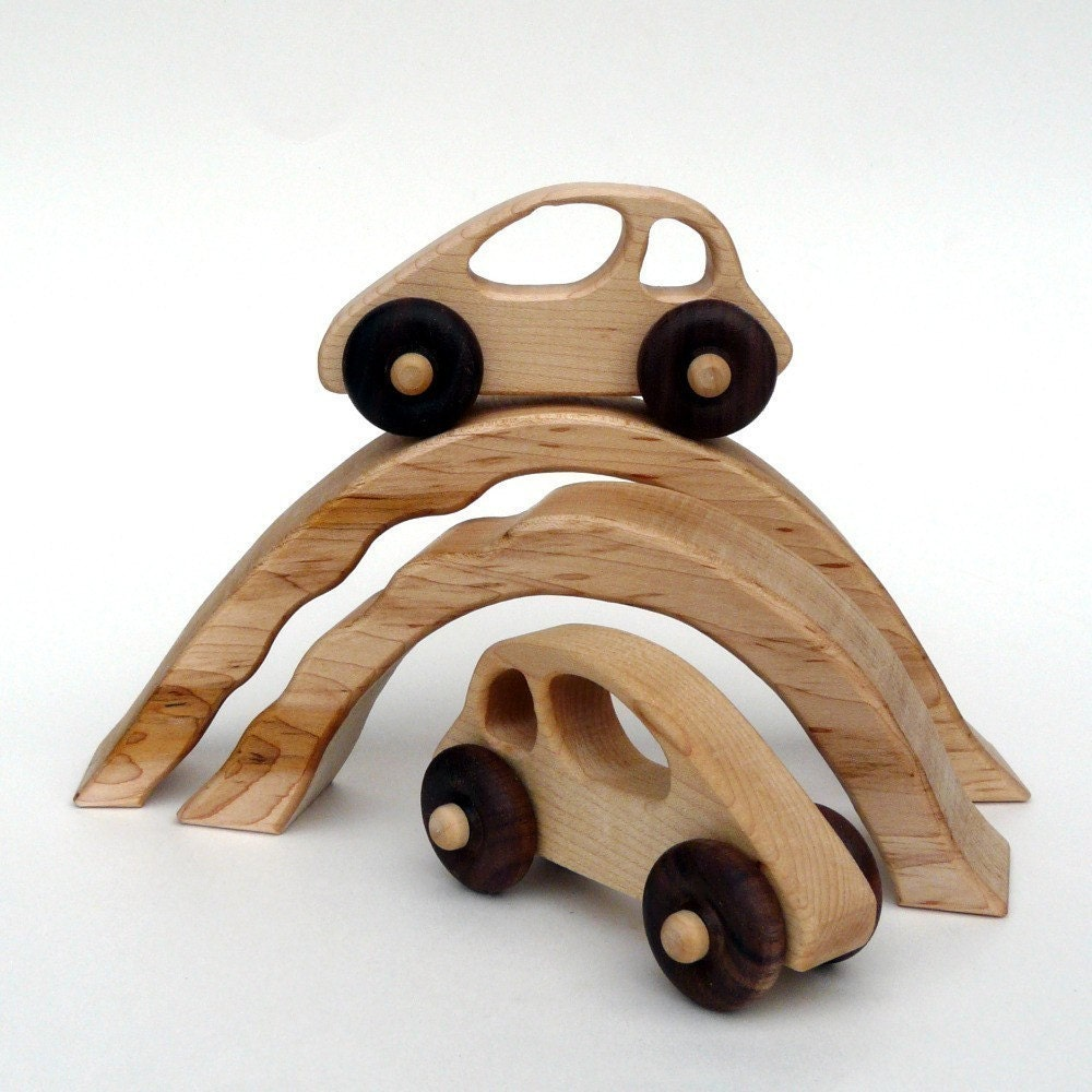 organic DRIVING TOY - two cars and two nesting bridge/tunnels wooden developmental set