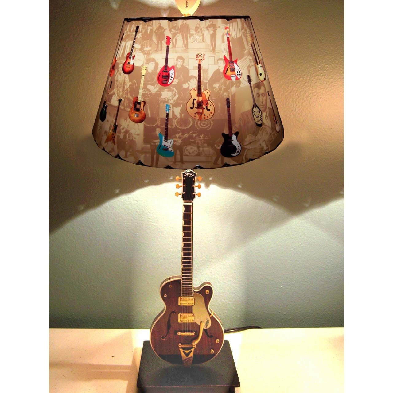 Etsy :: CreativePal :: Gretsch Country Gentleman George Harrison Guitar Lamp and Vintage Guitars Lamp Shade from etsy.com