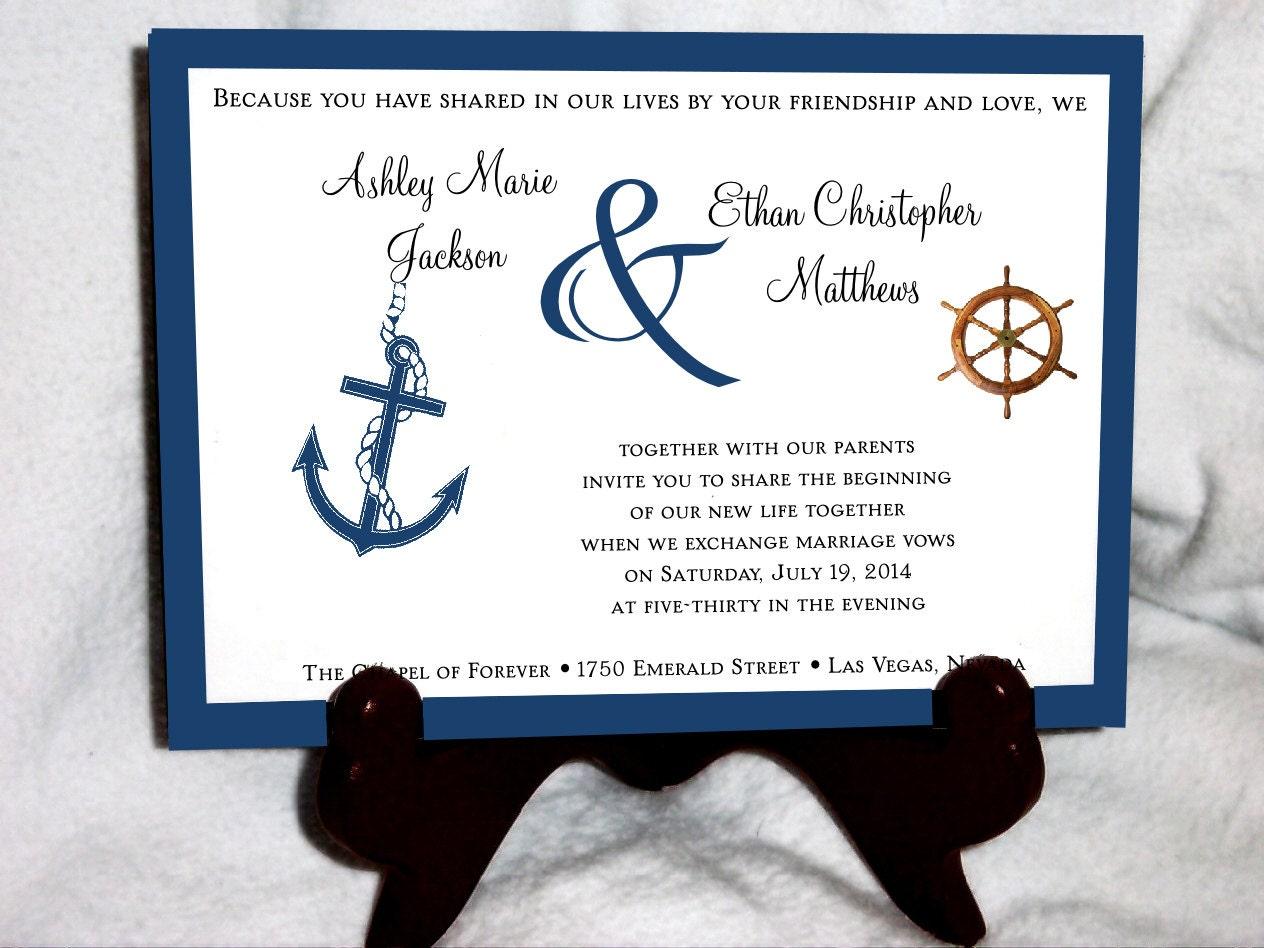 100 Nautical Beach Wedding Invitations By Creatingapapermemory