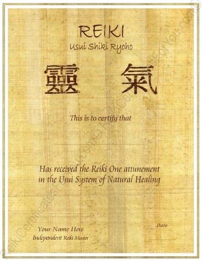 Reiki certificate template for Reiki level 1 certificate template