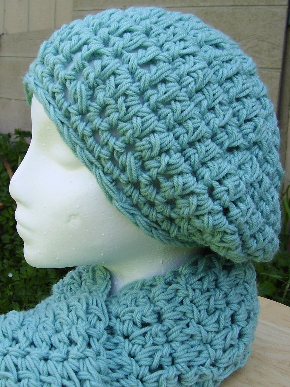 Crochet Scarf Pattern Easy Quick : PATTERN Slouchy Beret and Scarf Set Quick and by aStateOfGrace