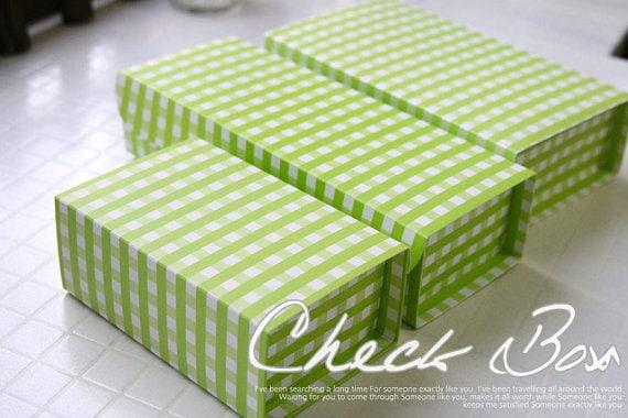 Green Check Gift Box (S) - 4pcs