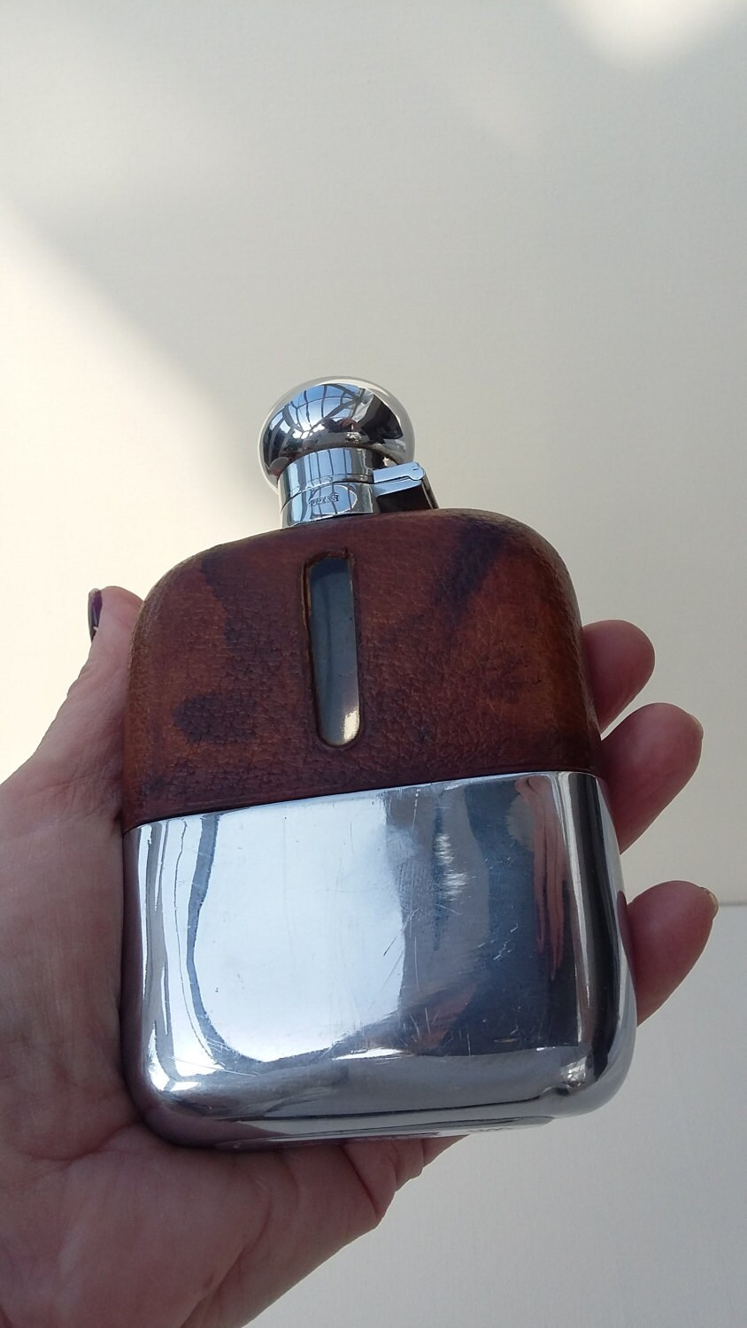 Antique Edwardian Gentlemans Pigskin Leather Hip Flask James Dixon  Sons Chrome Plated Hip Flask