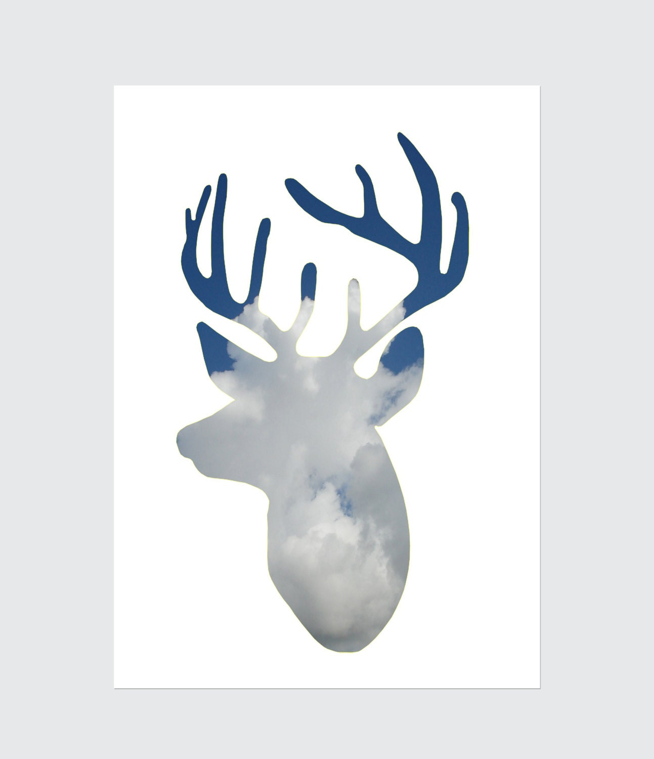 Reindeer Silhouette Print 8x10 inches-Cloudy -Wall art- Home decor- Reindeer Spirit- Earth Day-Blue - MILKANDPAPER