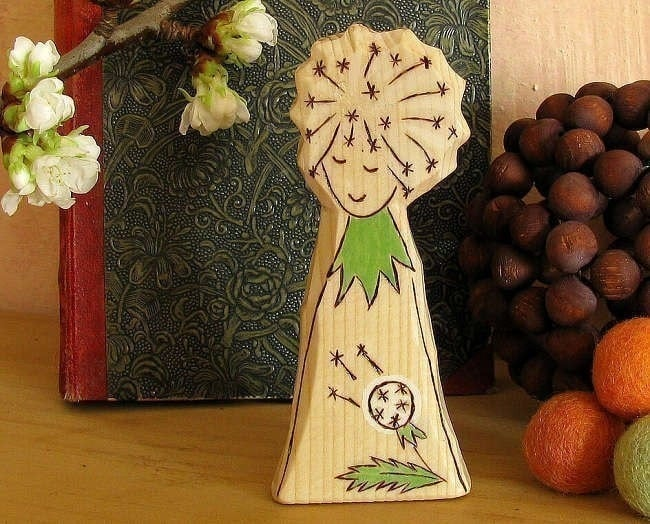 BLOWBALL - DANDELION FAIRY - nature table toy - carved wooden figure - waldorf inspired