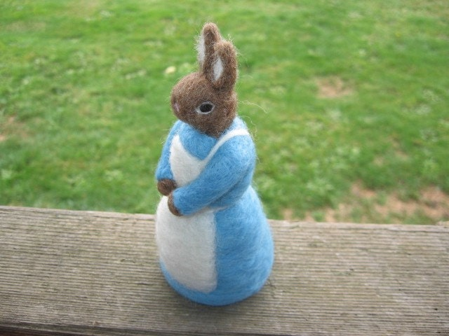 Mrs. Rabbit (Needle Felted Wool Figure)