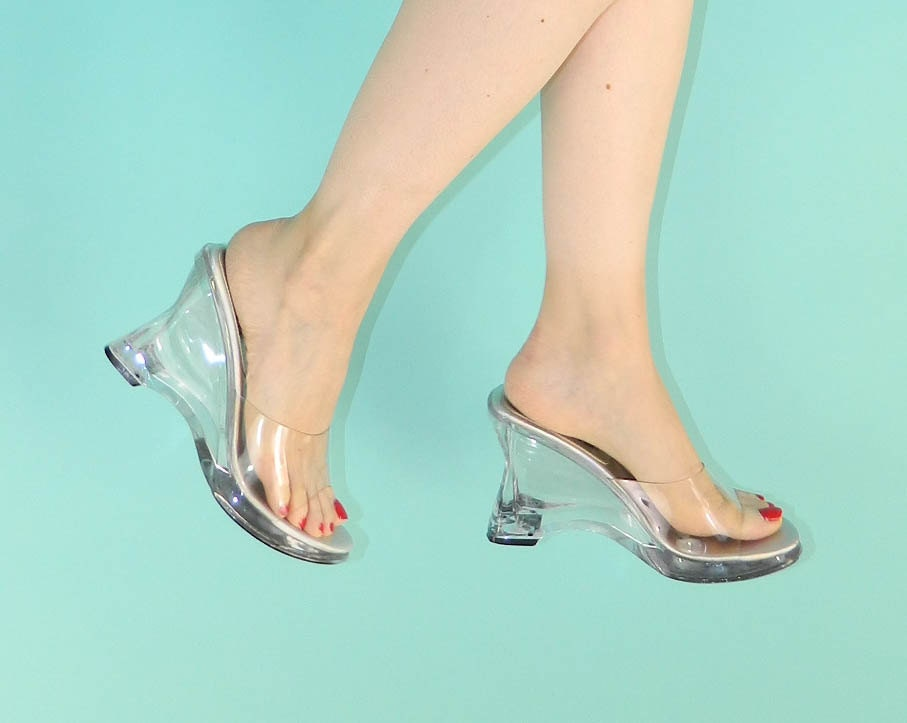 vintage 1990s clear shoes plastic see thru by