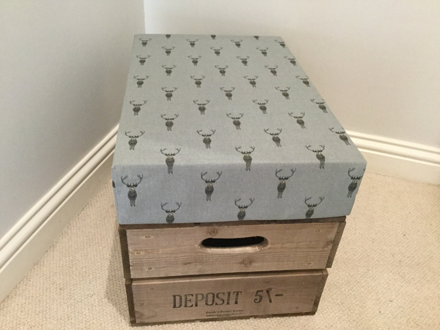 Wooden Vintage Style Reproduction Apple Crate Bushel Box Storage Seat with lid in Sophie Allport Highland Stag Fabric