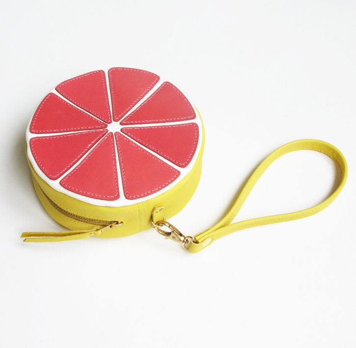 Pink Grapefruit leather pouch
