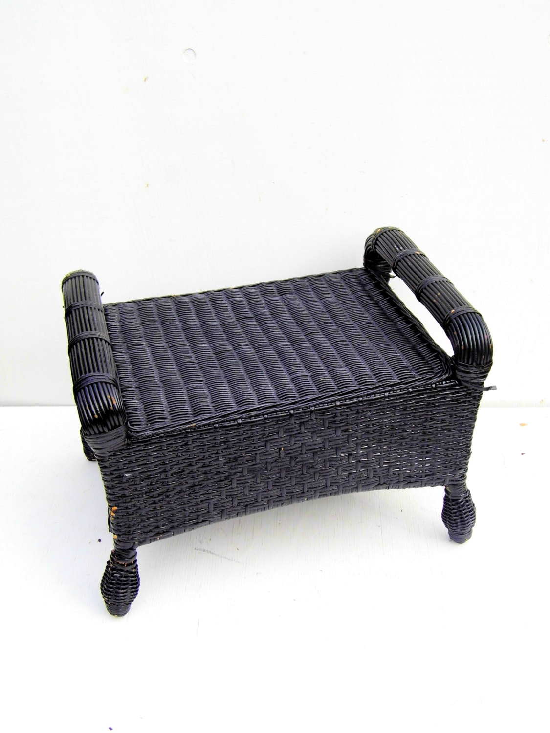 Vintage Wicker Footstool Mid Century Black By Paperwoodvintage