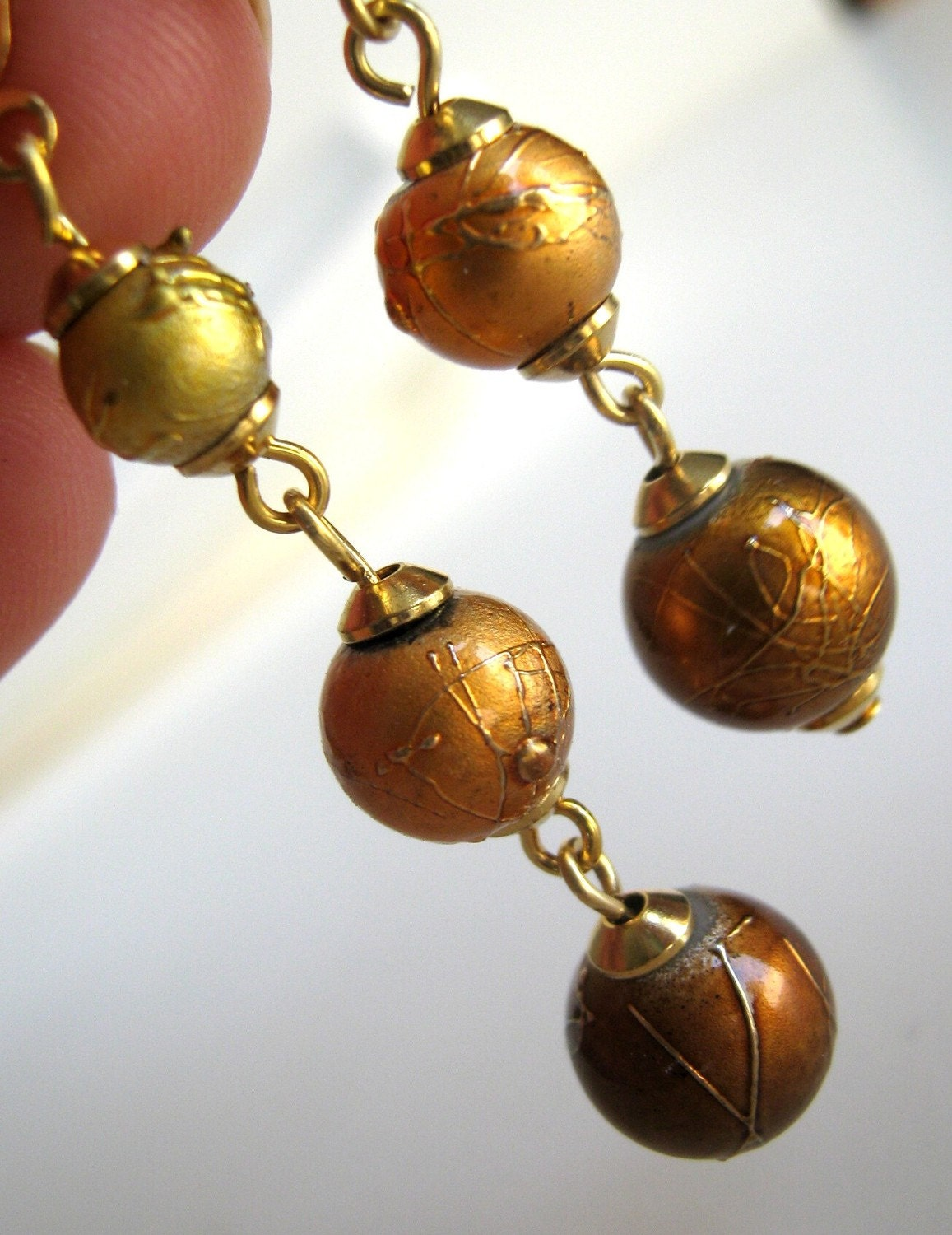 Tritone Earrings - rose gold, antiqued gold, and bright gold drop earrings