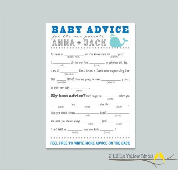 baby shower advice card mad libs sea by 2littleyellowbirds