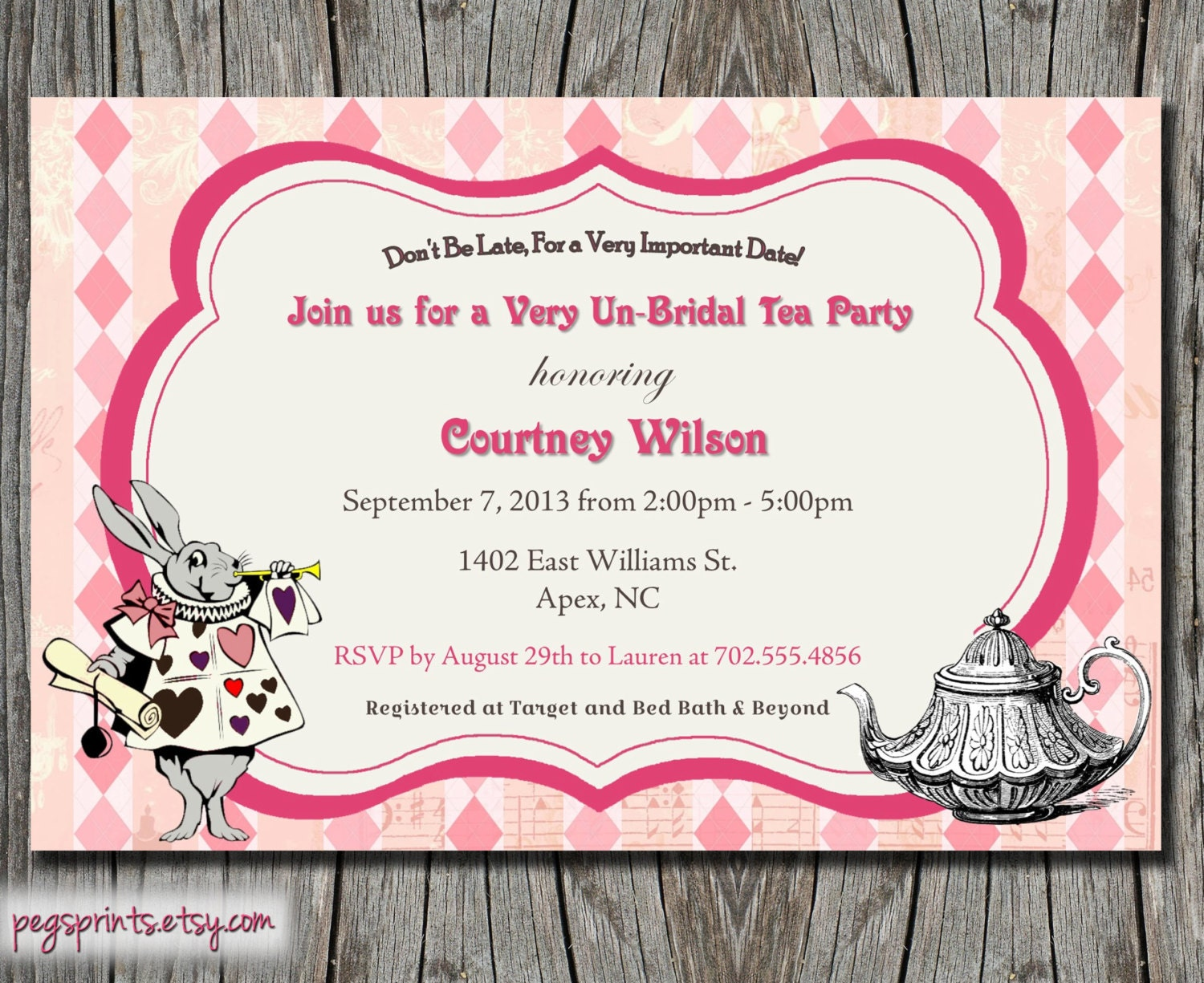 mad hatter bridal shower invitation tea party by pegsprints
