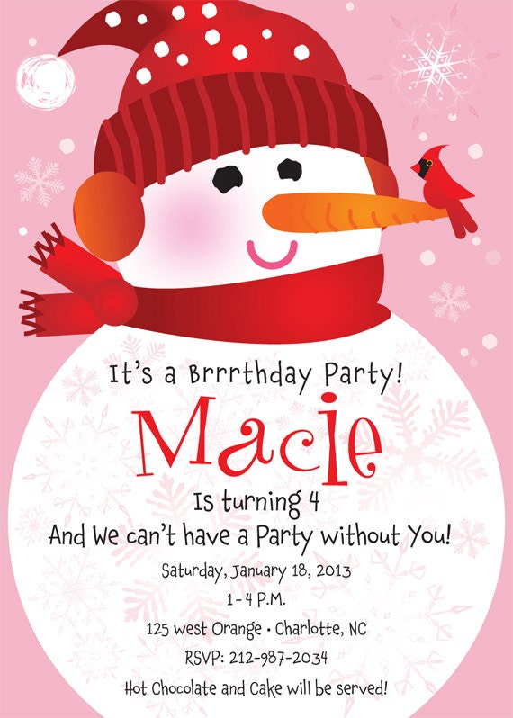 Items similar to snowman birthday party invitation for kids on etsy