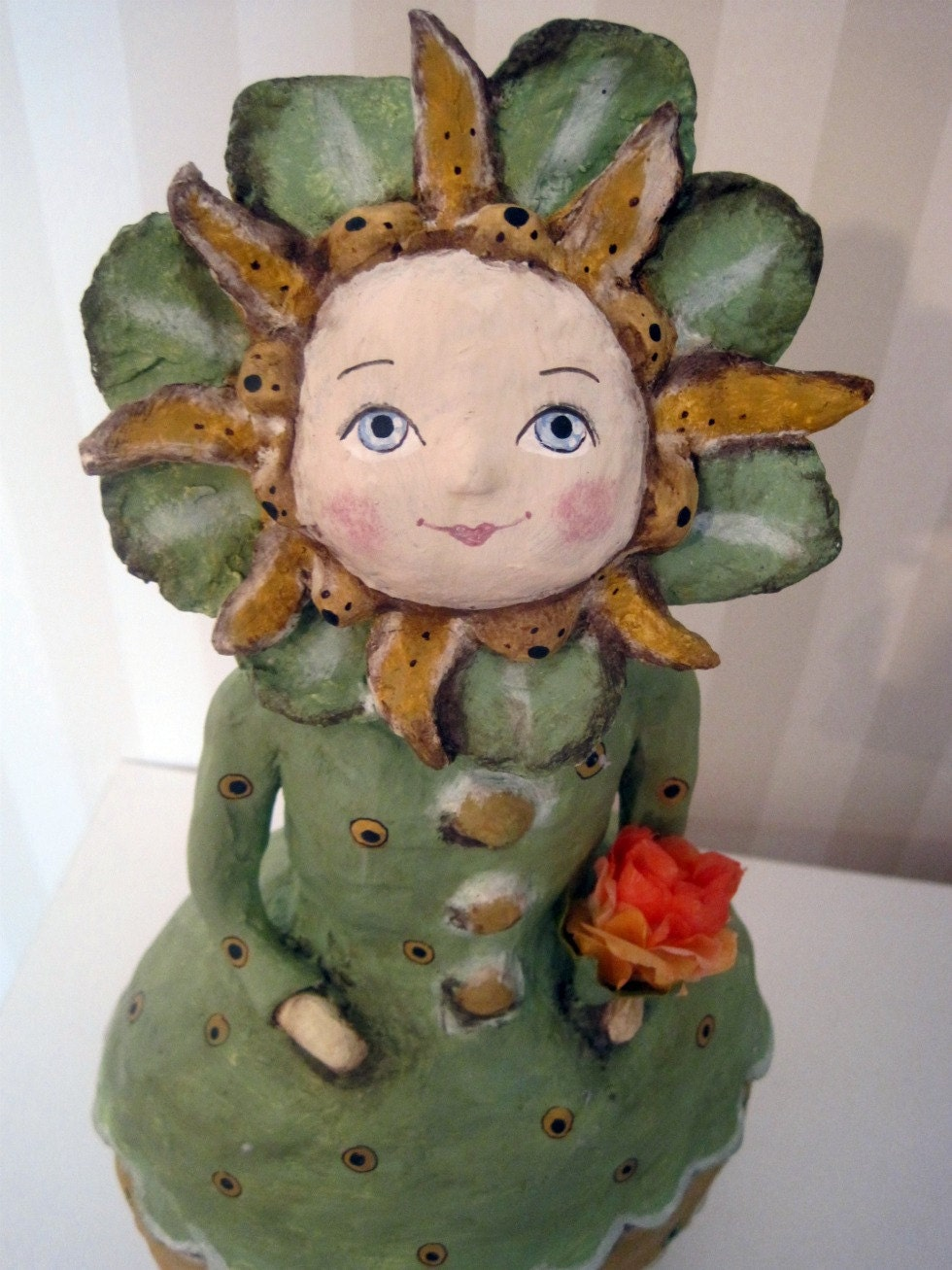 folk art papier mache art doll OOAK Little Ms. Sunshine