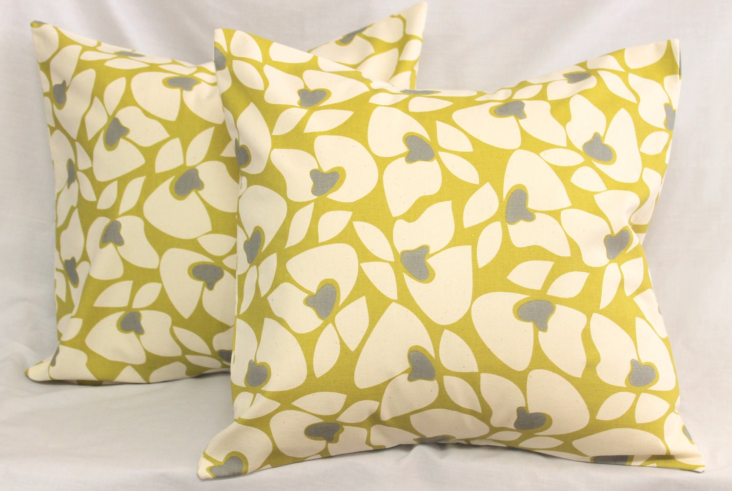 2 Decorative Pillow Covers Modern Floral . Vintage Yellow Olive Pear Citron & Gray . 18 x 18