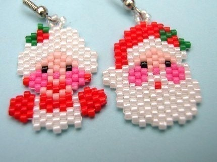 Adorable MR and MRS CLAUSE Beaded Earrings