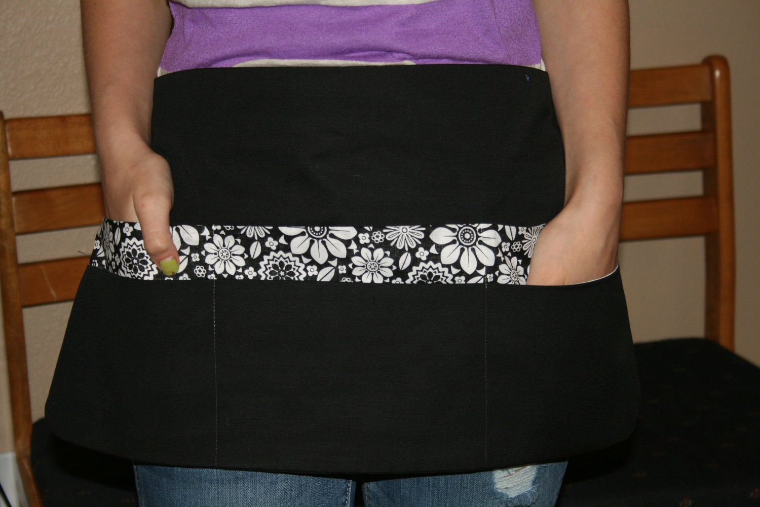 Teach with Class Black and White Apron