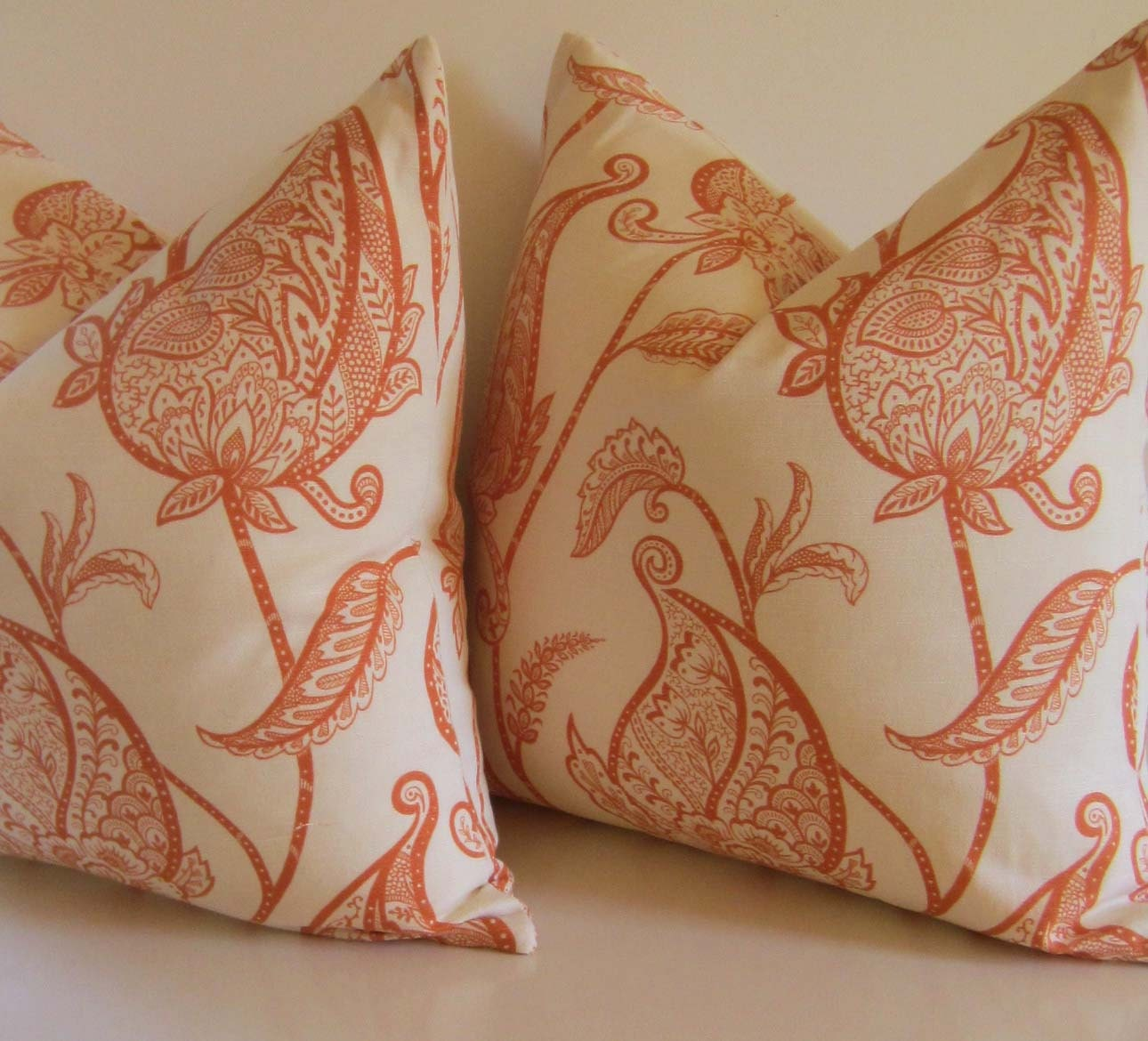 Set of Two - Decorative Pillows - 20 inch - Duralee Lucinda 3 Melon - Persimmon - Orange - Cream - Paisley - Floral - ready to ship - studiotullia