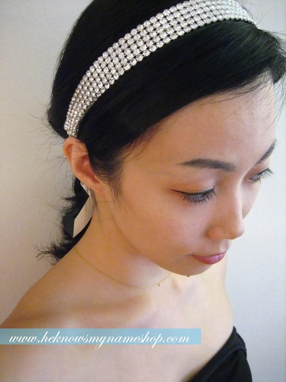 Wide Rhinestone Headband / Sash - black, ivory, white, beaded sash, rhinestone bridal sash, belt