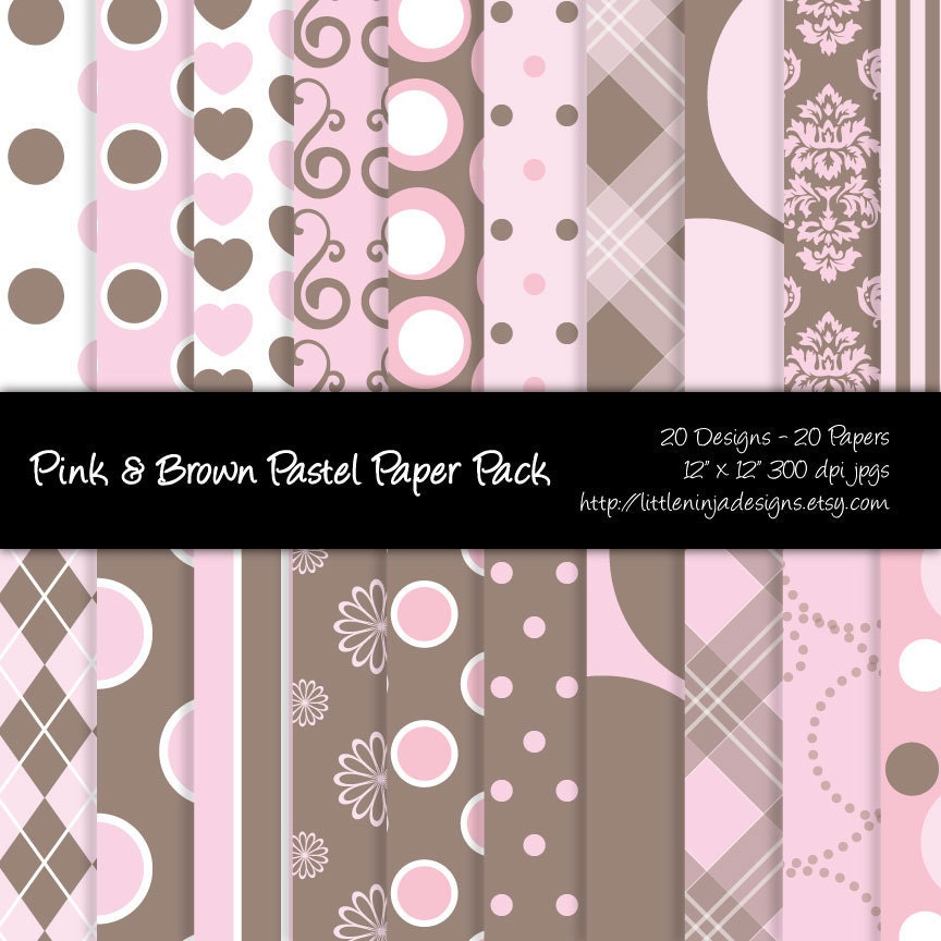20 Digital Papers - Pink and Brown Pastel Digital Paper Pack - 300 DPI JPGs - 12 x 12 inches - Personal and Commercial Usage