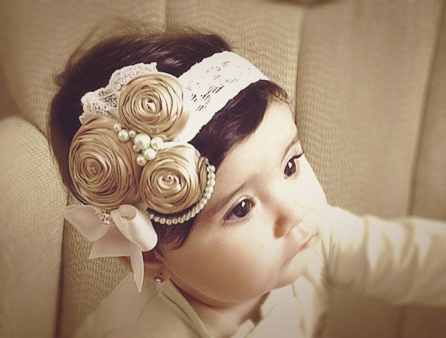 14 best images about baby hairband on vintage ivory caramel vintage headband child by daniellasjewels