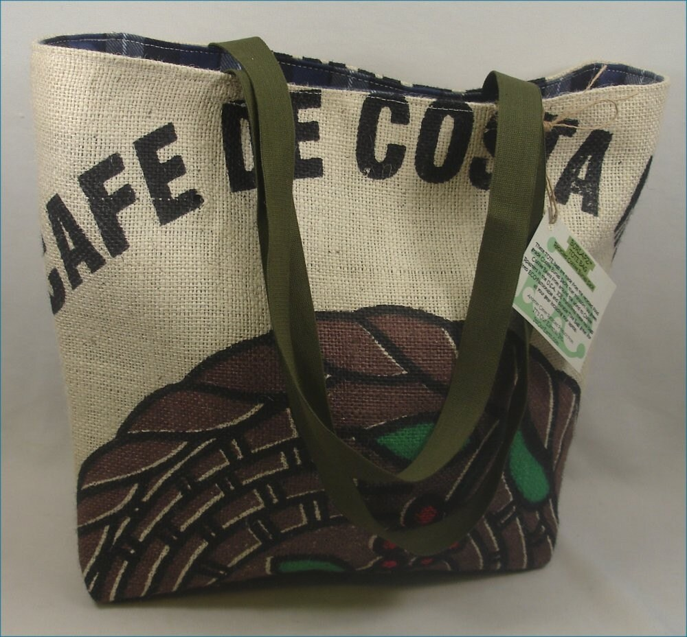 Upcycled Coffee Burlap Sack TOTE BAG Reversible - Cafe De COSTA RICA