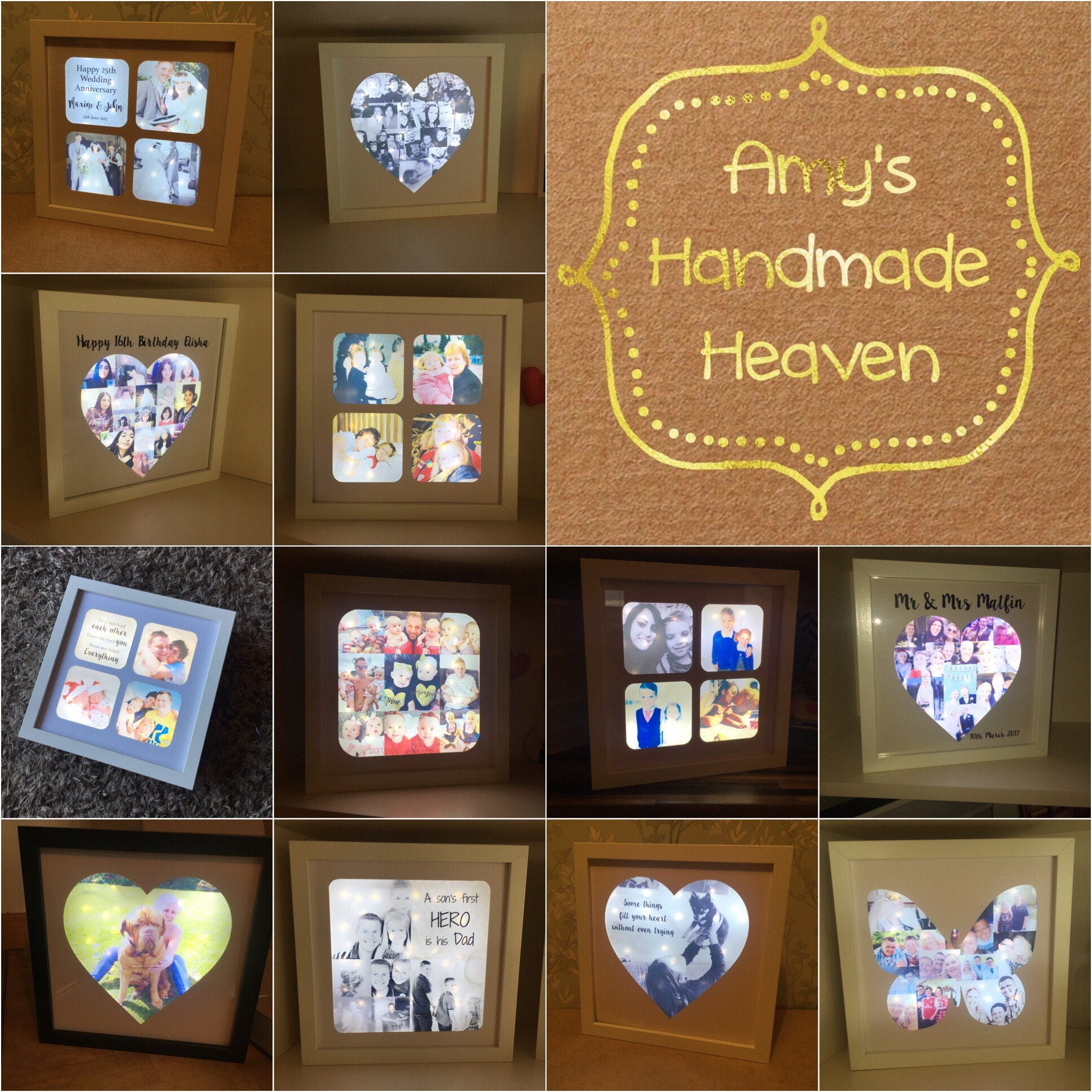 SPECIAL OFFER  Light Up Box Frame Light Up Photo Frame Heart Frame Heart Shaped Photo Collage