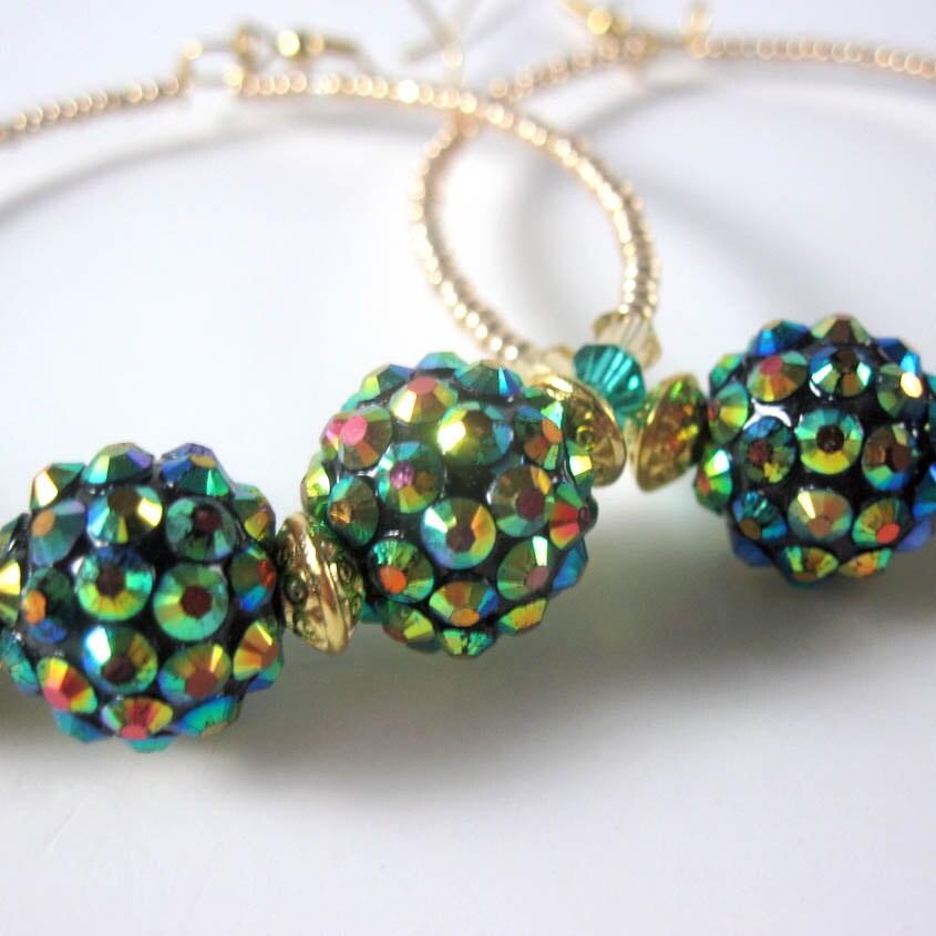 Rhinestone Ball Hoop Earrings, Green, Gold, Basketball Wives