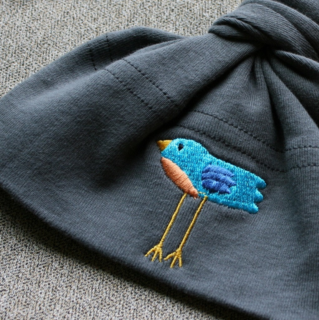 Baby Knot Hat - American Apparel Asphalt Grey with Tweet Bird Embroidery