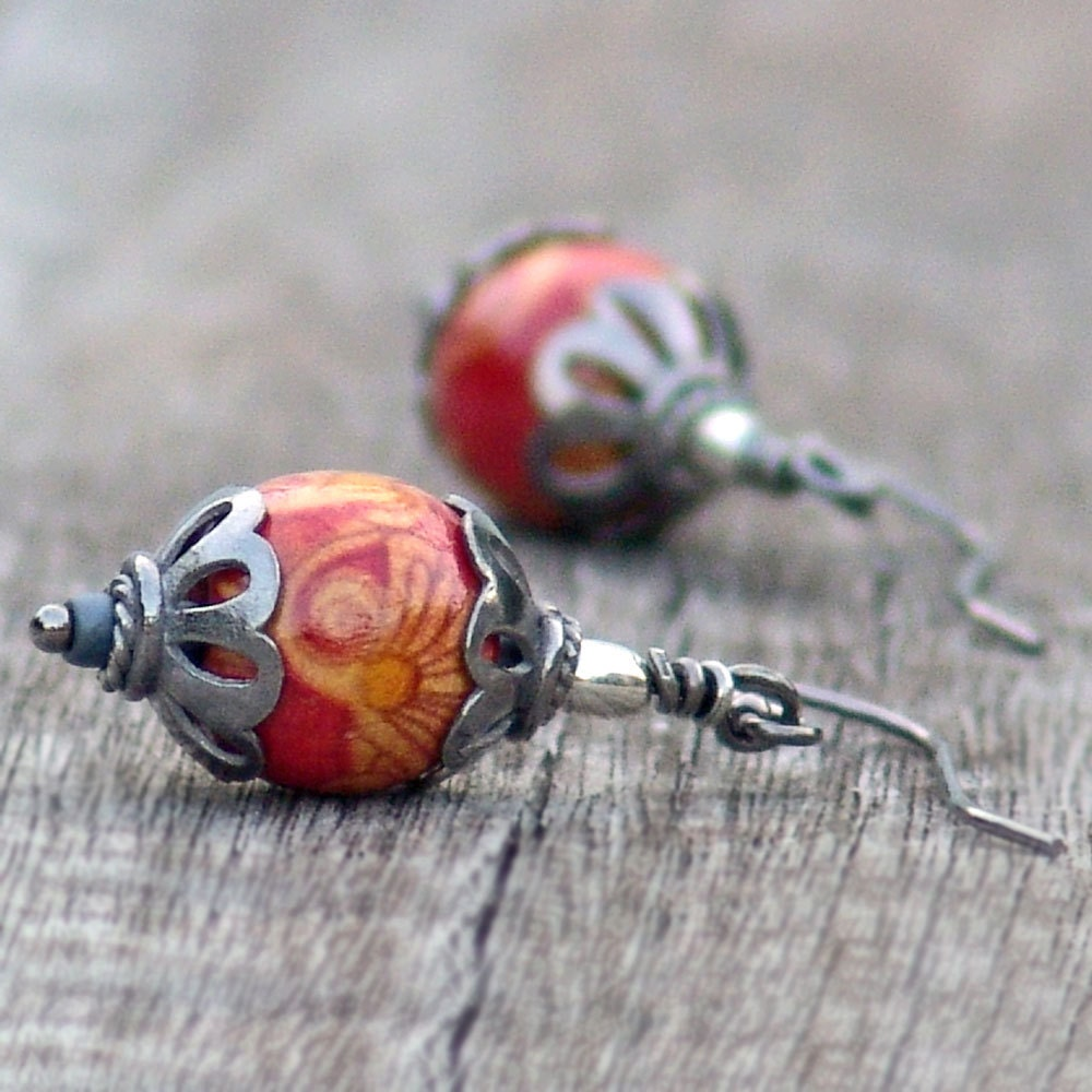 Earrings Chinese Lantern Dangle Red Wire by galleryzooartdesigns on Etsy from etsy.com