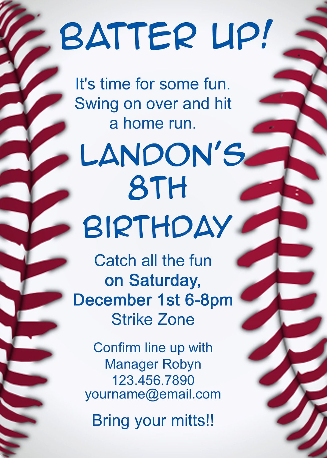 Crafty image intended for free printable baseball birthday invitations