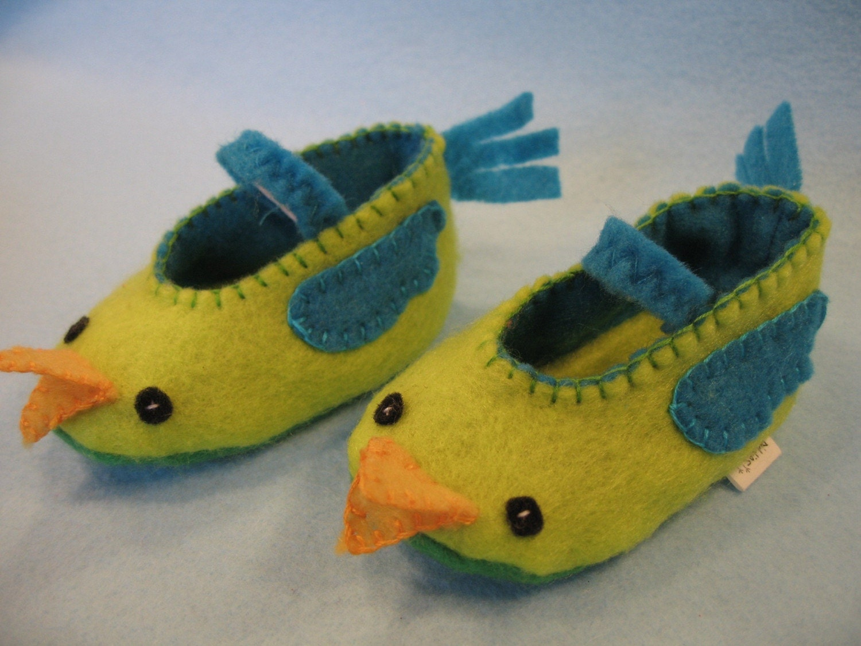 Green Baby Bird Slippers