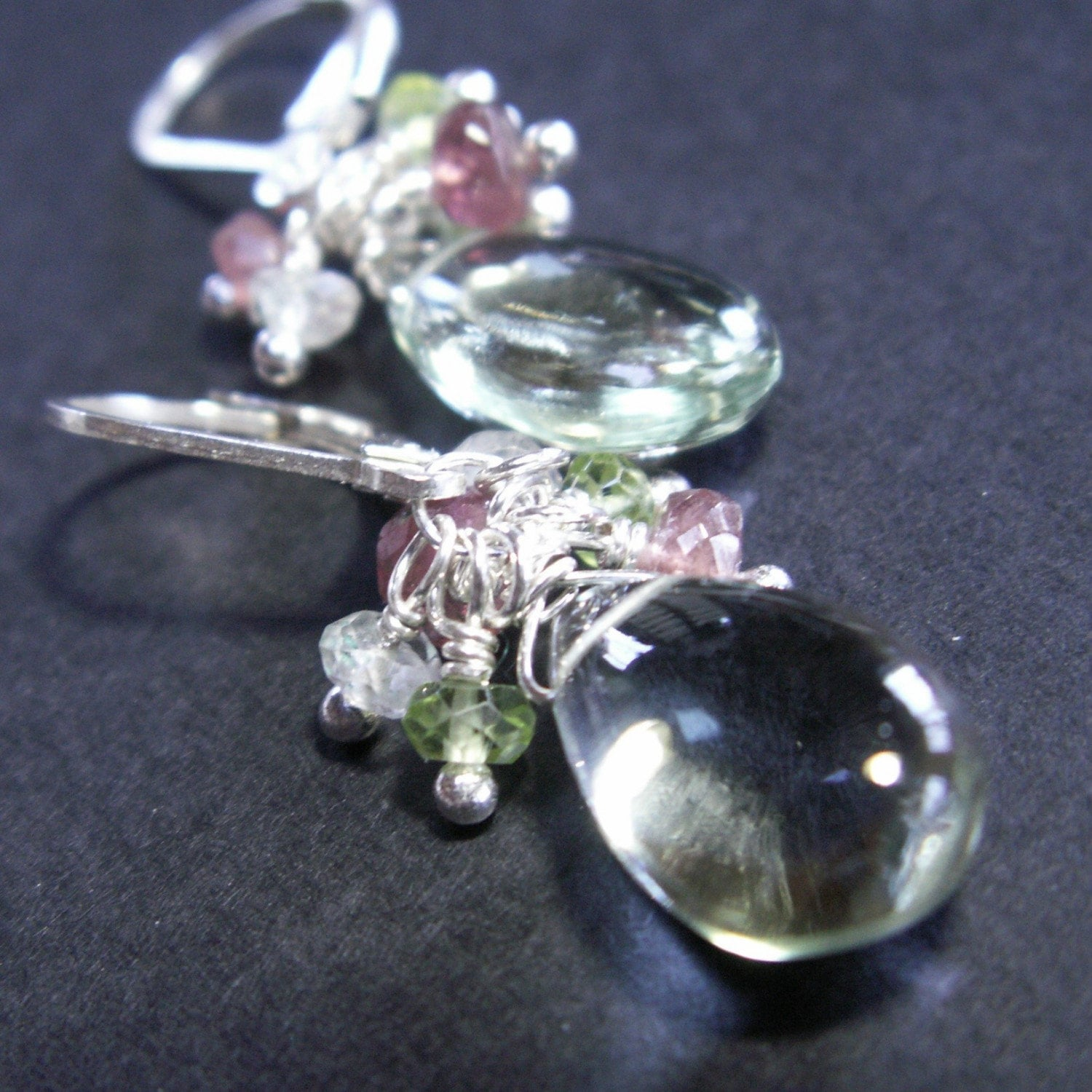 handcrafted jewelry earrings sterling silver green amethyst pink tourmaline