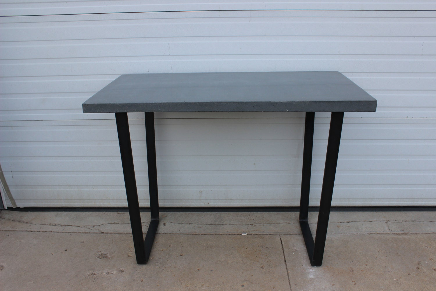 Concrete and steel kitchen dining patio table with by for Concrete kitchen table