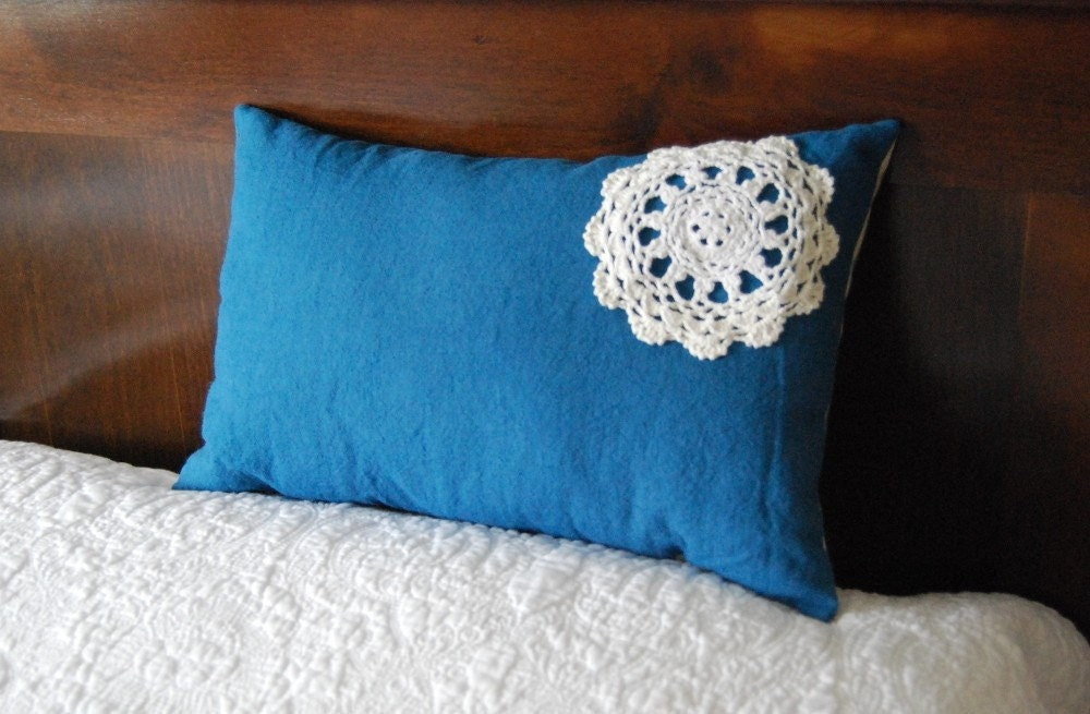 Small dark blue hemp and doily pillow ticking kapok cushion travel size