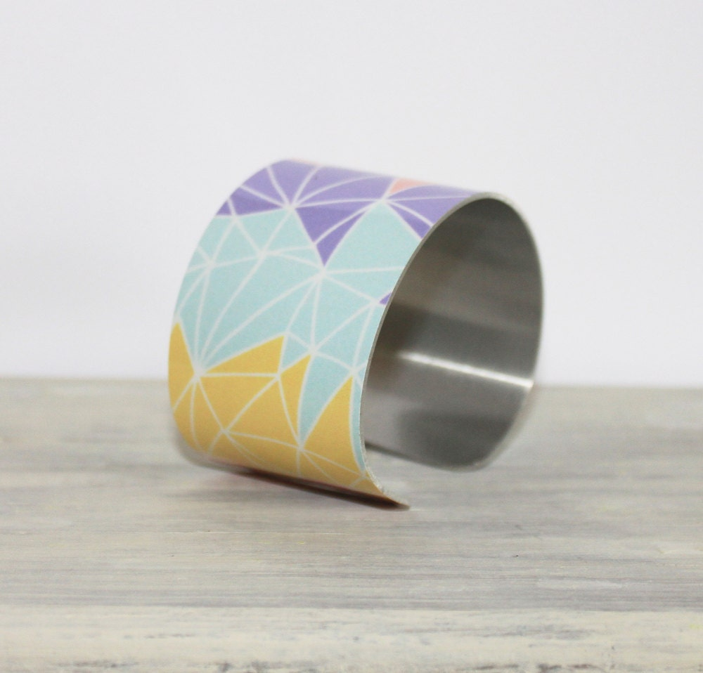 TWIGGY Cuff Bracelet - Metal Cuff - Aluminum Cuff Bracelet - Large Bold Bracelet - Wide Cuff Jewelry - Colorful Bracelet - PeaceLoveBeach