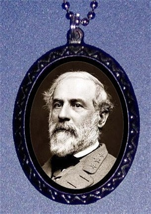 Robert E. Lee Confederate General Civil War Southern Pride South Handcrafted Handcasted Metal Pendant Handpainted Black with silvertone ballchain necklace